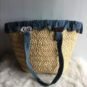 Polo Ralph Lauren Straw Jean Denim Tote